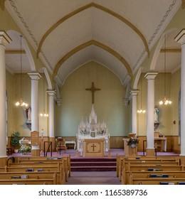 INGONISH BEACH, NOVA SCOTIA/CANADA - JULY 21, 2018:  Interior of the historic St. Peter's Roman Catholic Church at 37384 Cabot Trail in Ingonish Beach