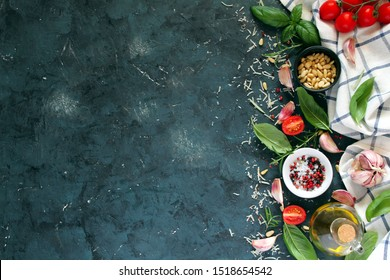 Ingredient for cooking on dark background. Top view with copy space. Cooking concept.