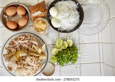 """ingredient for making """"Soto ayam"""", traditional chicken soup in Indonesia"""
