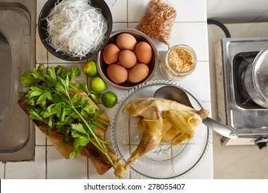 "ingredient for making ""Soto ayam"", traditional chicken soup in Indonesia"