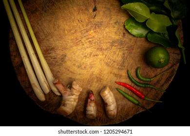 Ingredient of tomyum on Chopping board, thai food, top view