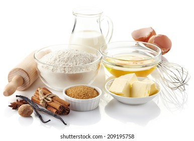 Ingredients for baking cake isolated on white background