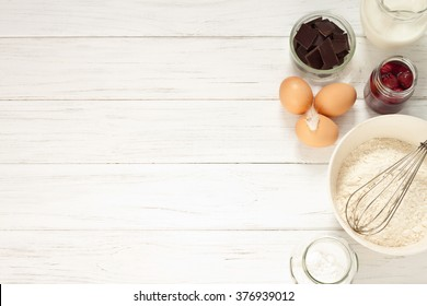 Ingredients for baking a cake, top view