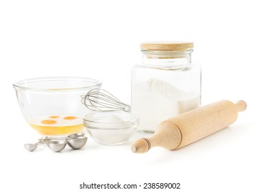 Ingredients for baking isolated over white