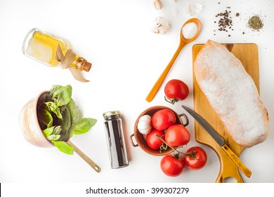 Ingredients for  bruschetta on the white background top view