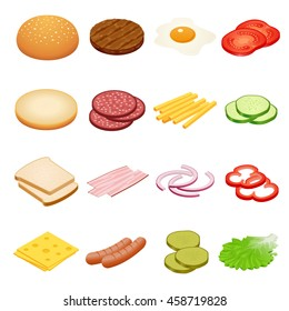 Ingredients for burgers and sandwiches. Fried egg, onions, beef, cheese, cucumbers and other elements to build custom burger. Tasty snack.