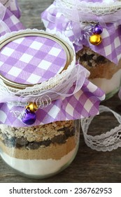Ingredients for chocolate chip cookies in a jar: handmade gift