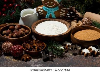 ingredients for Christmas baking, horizontal