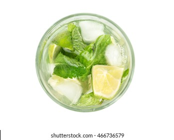 Ingredients cocktail mojito isolated on white background, top view