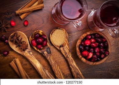 Ingredients for cooking cranberry hot mulled wine