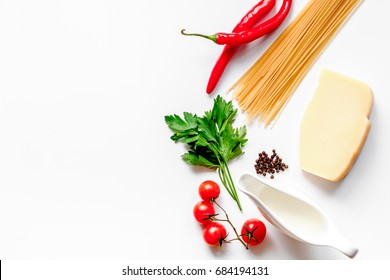 ingredients for cooking paste white background top view mock up