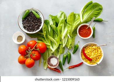 Ingredients for cooking vegetarian tacos top view flat lay