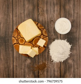Ingredients for Crisp cheese waffles on wooden background