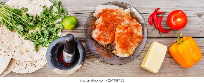 ingredients for  fajita wrap sandwich