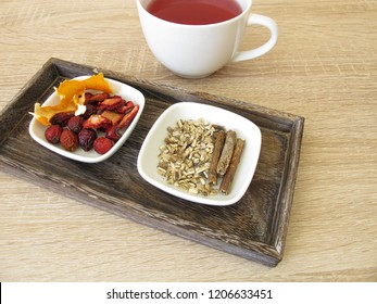 Ingredients for fruit tea with dried fruits, orange peel and liquorice root