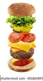Ingredients of hamburger on white background