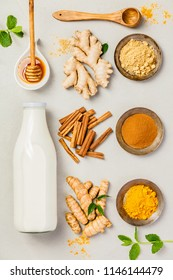 Ingredients  for healthy drinks - turmeric tea or golden turmeri
