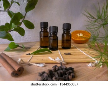 Ingredients for home natural cosmetics. Aromatic oils, oranges, herbs