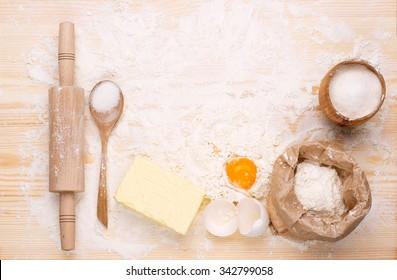 Ingredients of  homemade baking bread