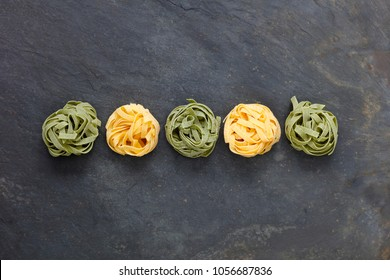 Ingredients for Italian pasta meal with tagliatelle with copy space