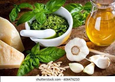 Ingredients for italian pesto sauce (pesto alla genovese).