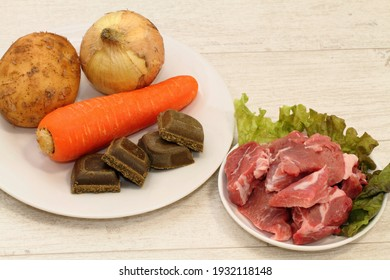 Ingredients for Japanese pork curry rice