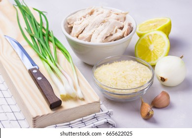 Ingredients for lemon chicken soup with rice or orzo.
