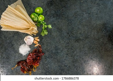Ingredients to make tamales on a table