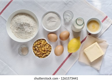 ingredients for making easter cake, top view