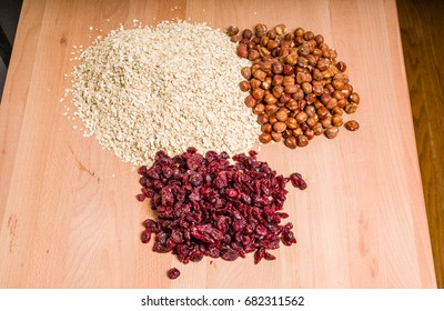 Ingredients for making fresh granola with dried fruit