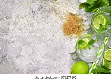 Ingredients for making mojito on a  grey concrete, stone or slate  background.Top view with space for text.