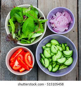 Ingredients for making salad with fresh vegetables