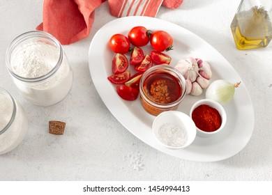 Ingredients for making spicy sauce Bravo Spanish cuisine