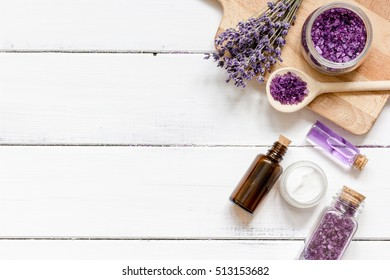 ingredients for manufacture of natural cosmetics with lavender top view