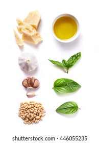 ingredients for pesto isolated on white background. top view