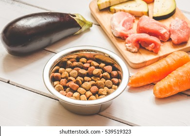 ingredients for pet food natural on wooden background
