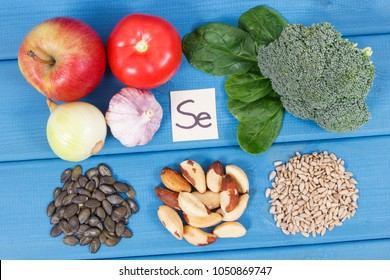 Ingredients or products containing selenium and dietary fiber, natural sources of minerals, healthy lifestyle and nutrition