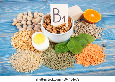 Ingredients or products containing vitamin B1 and dietary fiber, natural sources of minerals, healthy lifestyle and nutrition