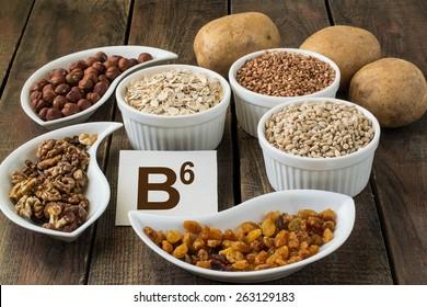 Ingredients rich in vitamin B6: potatoes, hazelnuts, walnuts, buckwheat, oatmeal, barley