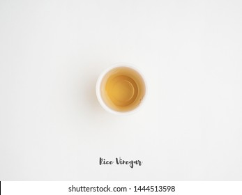Ingredients and sauce on the white background. Rice Vinegar
