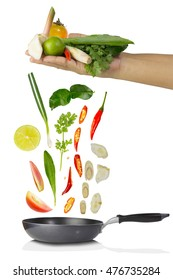 ingredients spices Herb with pan isolate on white/ingredients TOMYUM