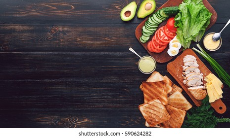 Ingredients for a tasty and delicious turkey sandwich with chicken and vegetables