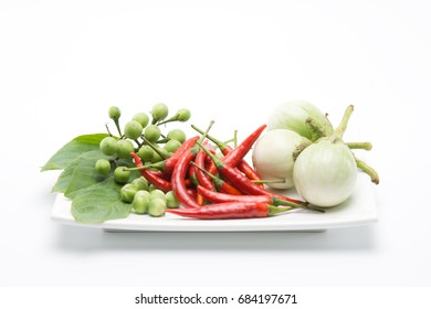 ingredients of Thai cooking on the white plate