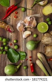Ingredients of Thai spicy food, tom yum.
