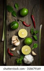 Ingredients of Thai spicy food, Ingredients of Tom yum