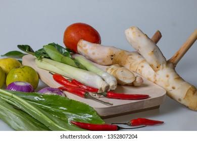 ingredients of TomYam spicy put on white background.