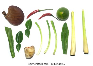 ingredients of TomYam spicy soup on white background