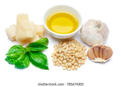 ingredients for traditional italian sauce pesto isolated on white background