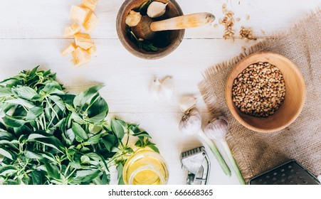 Ingredients for traditional pesto sauce