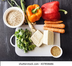 Ingredients for a vegetable tofu burger